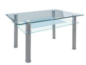 Τραπέζι Veron ΕΜ701 90x60x75cm Silver-Clear